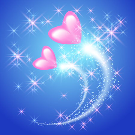 Pink Valentine hearts with fireworks in the sky Иллюстрация