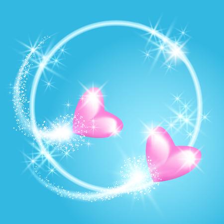 Roze Valentine-harten met begroeting en vuurwerk in de hemel.