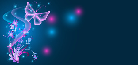 Neon butterfly and flowers ornament with shiny smoke and stars