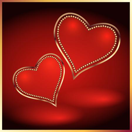Dos corazones decorativos con marco dorado Ilustración de vector
