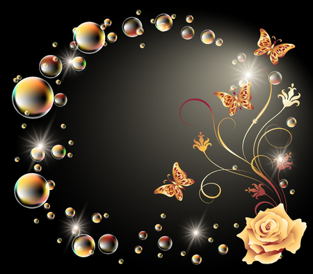 Glowing background with rose, butterfly and bubbles