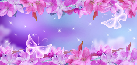 Cherry  blossom with mysterious butterflies and shine stars Stock Photo