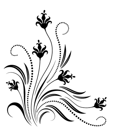 Decorative floral ornament for stencil isolated on white background Illustration