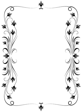 Decorative floral ornament for stencil, isolated on white background.