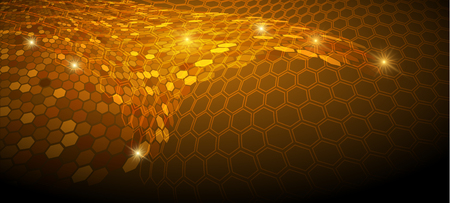 Glowing background with hexagon pattern surface. Network connection.  Illustration