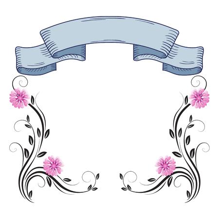 Decorative floral frame of ornament and vintage ribbon