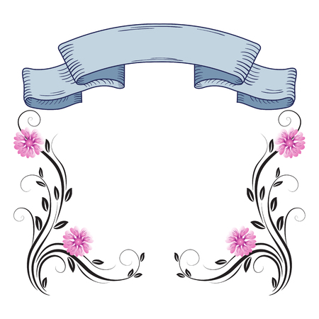 Decorative floral frame of ornament and vintage ribbon