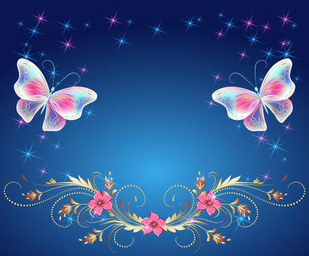 Magic butterflies with golden ornament, flowers ornate and glowing stars Vector illustration. 版權商用圖片 - 96977512