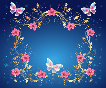 Magic butterflies with golden ornament, flowers ornate and glowing stars Vector illustration.