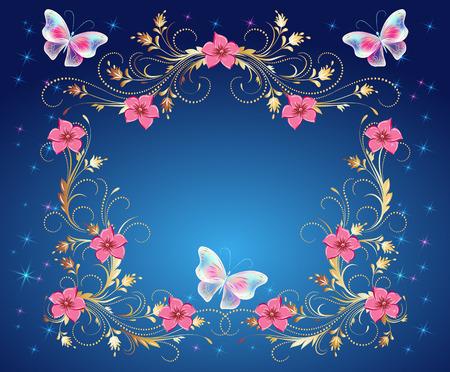 Magische Schmetterlinge mit goldener Verzierung, Blumen aufwändig und glühenden Sternen Vector Illustration.