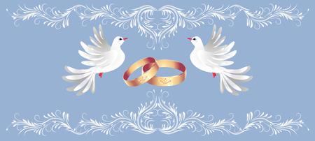 Marco de adornos florales, anillos dorados y dos palomas para tarjetas de felicitación decorativas de felicitación o invitación de boda