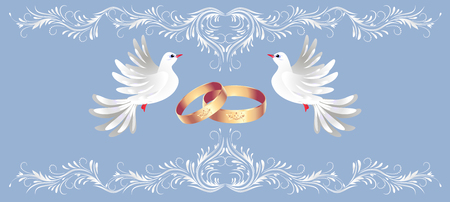 Floral ornament frame, golden rings and two dove for decorative congratulatory celebration greeting card or wedding invitation