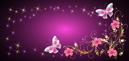 Floral ornament frame with magic butterflies for decorative greeting card, wedding invitation, birthday, holiday or event