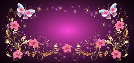 Marco de adornos florales con mariposas mágicas para tarjetas de felicitación decorativas, invitaciones de boda, cumpleaños, vacaciones o eventos