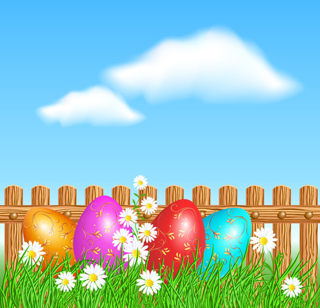 Easter eggs with decorative golden ornament on green grass against blue sky, clouds and wooden fence Stock Illustratie