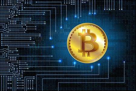 Virtual symbols of the coin bitcoin on binary code background. Crypto currency. Illustration