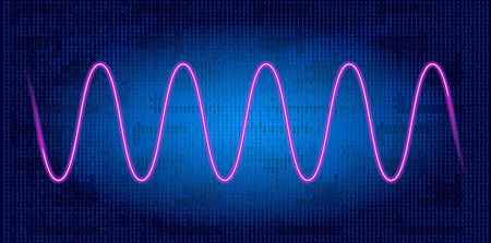 Neon wave graph. Schedule tracking of processor status, disk monitoring, CPU indicator or RAM on binary code background.