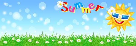 Funny sun with sunglasses and meadow flowers with green grass. Summer Vector illustration.