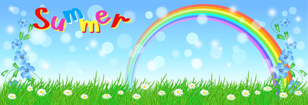 Rainbow in the sky, meadow flowers and green grass. Summer Vector illustration.