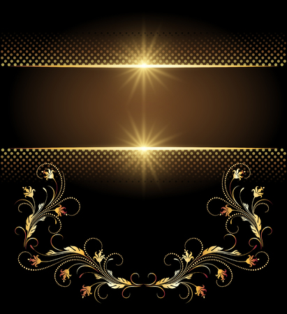 Background with glowing stars and golden ornament