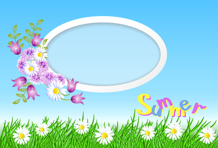 Summer landscape with round frame in the sky, meadow flowers and green grass Çizim