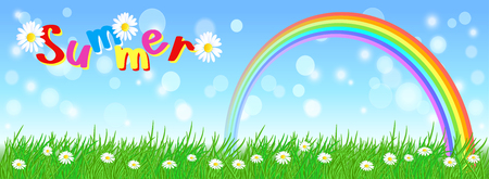 Rainbow in the sky, meadow flowers and green grass. Summer.