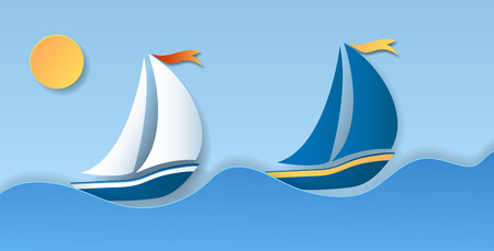 Two sailboat on sea waves. Water sport and travel.