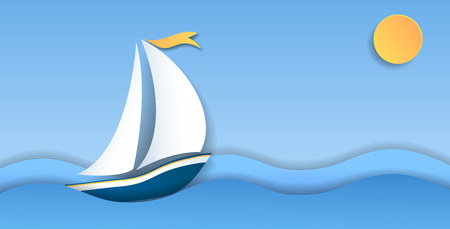 Sailboat on sea paper waves and sun. Water sport and travel.