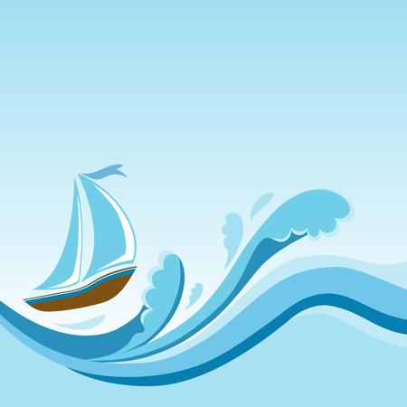 Sailboat on sea waves template design