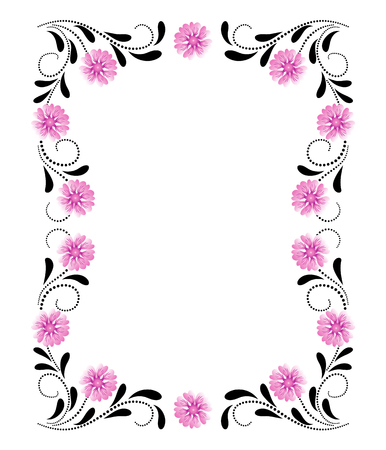 Decorative floral frame of ornament with pink flowers