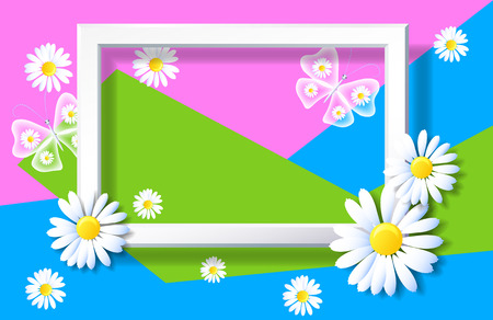 Spring background with sliced paper and decorative frame with daisies and butterflies