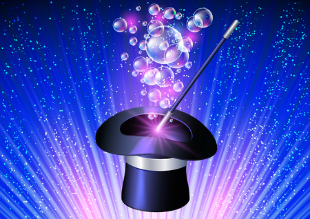 Conjurer hat with magic wand and flying bubbles on blue rays background Illustration