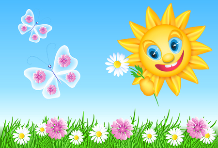 Funny summer sun with daisy and meadow flowers, butterflies and green grass.