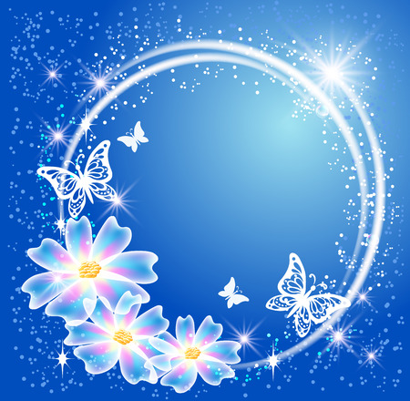 Glowing blue background with round frame,  transparent flowers, butterfly and sparkle stars