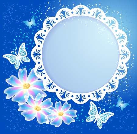 Transparent flowers with butterflies and openwork white frame on blue background