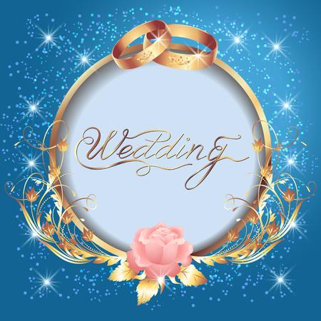 Fond avec anneaux d'or de mariage, cadre rond et ornement floral