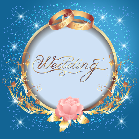 Background with wedding golden rings, round frame and floral ornament