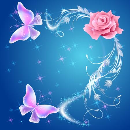 Papillons volants transparents avec ornement en argent, rose et feu d'artifice lumineux