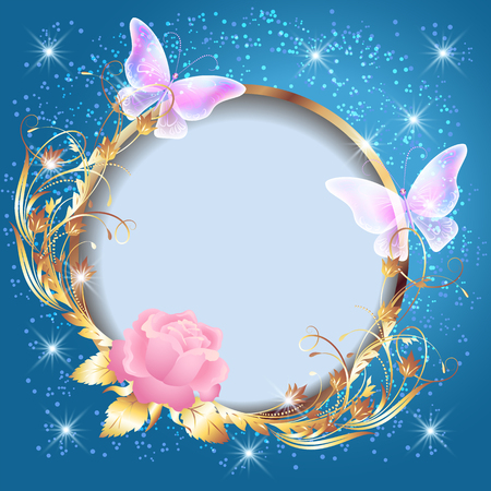 Transparent butterflies and pink rose with decorative golden round frame on glowing stars background