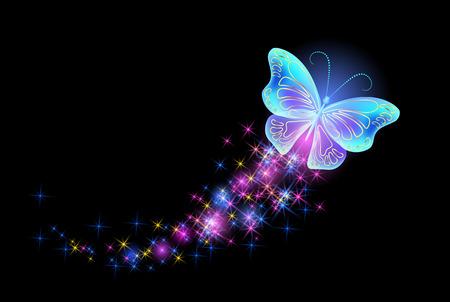 Butterfy con fuegos artificiales brillantes y estrellas brillantes