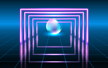 Abstract fantastic background with neon geometric lines and sphere, space portal into another dimension. 向量圖像