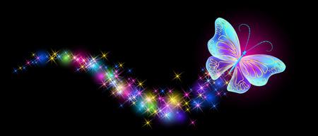 Vliegende vlinder met sprankeling en laaiend spoor en gloeiende sterren