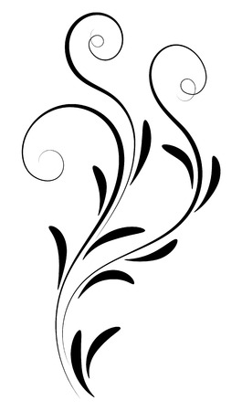 Decorative floral ornament for stencil isolated on white background