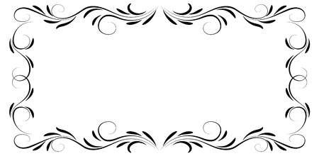 Decorative floral ornament frame isolated on white background