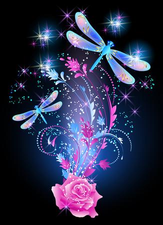 Libellula al neon con ornamento d'oro e rosa rosa con fumo lucido e stelle luminose