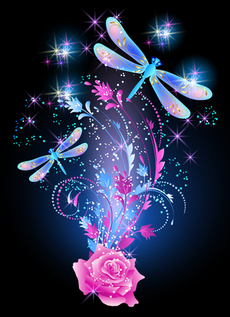 Neon dragonfly with golden ornament and pink rose with shiny smoke and glowing stars
