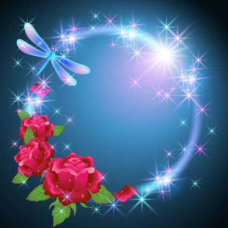 Neon round frame with dragonfly and golden ornament, pink roses with shiny smoke and glowing stars