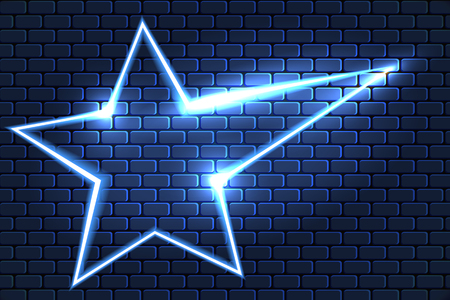 Neon star on brick wall for decoration signboard of a casino, shop, club or bar