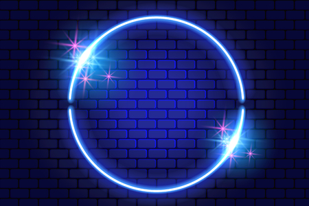 Neon round frame with sparkle stars on brick wall for decoration signboard of a casino, shop, club or bar