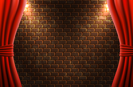 Scene with open curtains against decorative brick vintage wall with light from floodlights for sign or poster